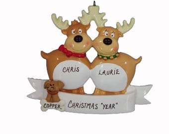 Personalized Couple Ornament with Dog - Personalized Couple Ornament with Cat - Reindeer Couple Ornament with custom Dog or Cat Added