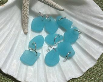 Sea glass charm~ sea Opal blue beach glass earrings~ beach glass charms~ sea glass earring charms~ Seaglass wedding earrings~ boho style