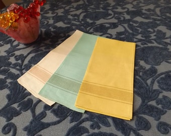 Sale Ireland. set of 3 small tea towels.  Made in Northern Ireland, pure linen.Green yellow beige New old stock.Gift for her himTea towels