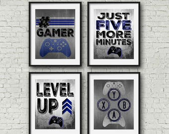 Gallery Wall - 8x10 Square -Xbox Controller - Gamer - Teen boy bedroom - game room wall art - gamer posters - video game posters - game art