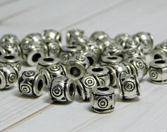 7x6mm - Metal Beads - Large Hole Beads - Barrel Beads - Spacer Beads - Silver Beads - Pewter Beads - 15pcs - (B132)