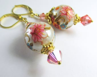 Japanese Tensha Large Round Drop Coral Peach and White Pearl Finish Earrings on all 22k Gold Vermeil Leverbacks, Beadcaps and Findings