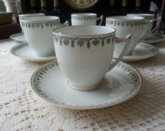 Antique Tea Set for 6, Tea Set  6 Cups and 6 Saucers