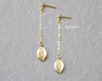 Leaf drop earrings in gold, Leaf Studs, Bridesmaid jewelry, Everyday earrings, Wedding earrings