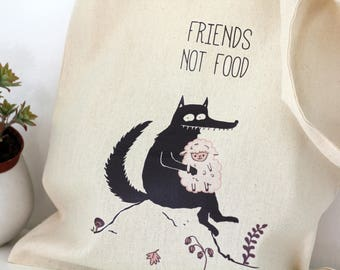 Tote bag, Animal quotes, Gift for her, Vegan life, Ethical, Market, School bag, wolf, sheep