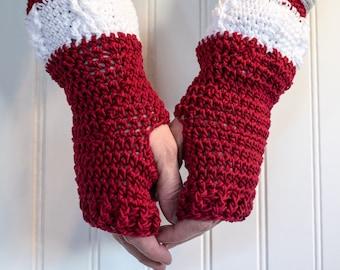 Crochet Fingerless Gloves, Red and White Gloves, Wrist Warmer, Arm Warmer, Fingerless Mittens, Gift for Her, Christmas Gift, Winter Gloves