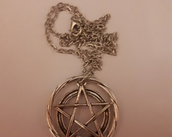 Pentagram star necklace pendant antique silver.