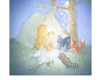 Nursery Wall Art Print - Reading - Bedtime - Camping - Children's - Owl - Fox - Fireflies - Forest - Squirrel - 8x10 - Kids Baby Room Decor