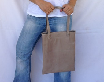 Casual Leather Shopping Bag Grey Elephant Medium Tote OLA Olaccessories FREE SHIPPING
