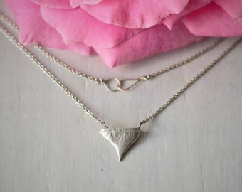 Rose - Rose Necklace - Silver - Silver Necklace - Silver Chain - Wedding Gift - Brides Beauty and the Beast - Bridesmaid Gift