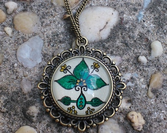 Forest Leaves Necklace Hand Drawn Pendant Leaf Design Nature Art Henna Mehndi Vintage Style Handmade Jewelry Devotion Symbolism
