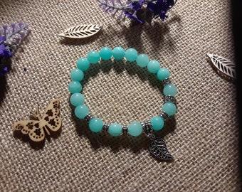 Amazonite bracelet with silver leaf charm