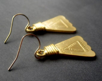Gold Triangle Earrings - Modern Gold Earrings - Modern Earrings Gold - Bohemian Gold Earrings - Rustic Gold Earrings - Gold Rustic Earrings