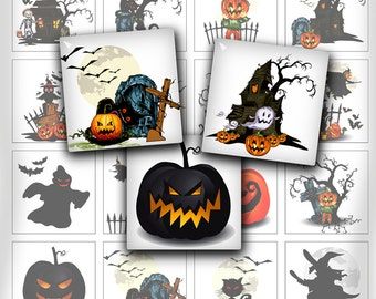 Halloween Square Images 1.5 inch 1 inch printable images for Pendants Scrapbooking Digital Collage Sheet - Instant Download