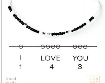 I Love You 143, Friendship Bracelet - Black/White, Best Friend Gift