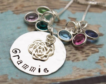 Grandmother or Mother Sterling Silver Necklace with Birthstones Personalized Hand Stamped Jewelry