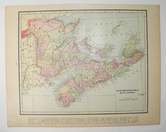 Real Antique Map Nova Scotia, New Brunswick Map Cape Breton Island 1900 Vintage Map Prince Edward Island, PEI Map Canada, Color Map to Frame