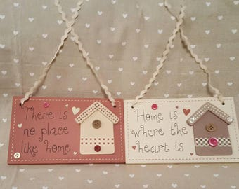 Hanging plaques with Homes is Where The Heart is & There is No Place like Home - New Home gifts Family Home