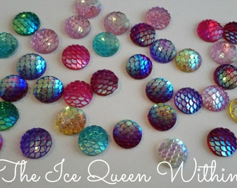Free shipping!!! Iridescent mermaid / dragon scale magnets (set of 10)