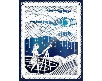 The Stargazer- Original Papercut Illustration - Night Sky - Girl and Telescope- 8x10 Print