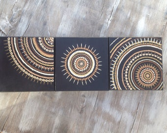 Earth toned natural trio dot art painting on canvas