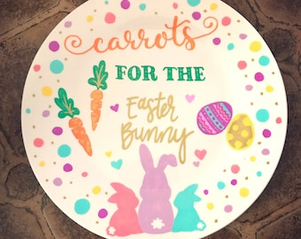 Carrots for the easter bunny/handpainted plate/add names or family name at no extra cost/shipped via priority