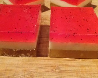 Hand made soap, melt and pour Red Berry cheesecake soap cake slice,gifts for her, birthday,cruelty free
