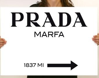 Prada Marfa Gossip Girl sign, painting canvas, wall art, 28x20inch FRAMED