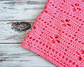 Crochet Baby Blanket in Flamingo Pink