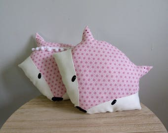 Fox head pillow decorative designs pink saki, PomPoms or rhinestones