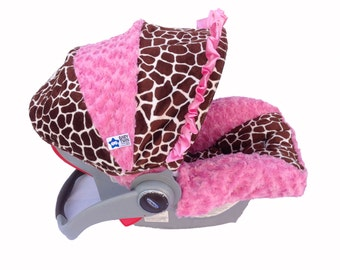 SALE **Infant Car Seat Cover- Pink Giraffe