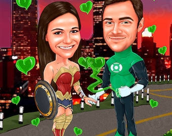 Custom Superhero Caricature, Couple Superhero Portrait, Superhero Cartoon, Caricature from photo