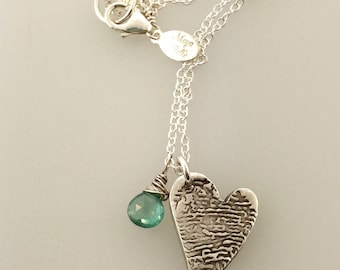Fingerprint necklace with Birthstone made from JPEG image of Fingerprint or Thumbprint, memorial jewelry, loss of loved one