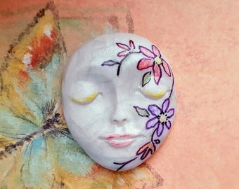 "SPRINGTIME FLOWERS-Polymer Clay Face Cabochon,1 3/4"" by 1 3/8"",large focal,bead,flat back mosaic tile,art doll,bead,No hole,jewelry"