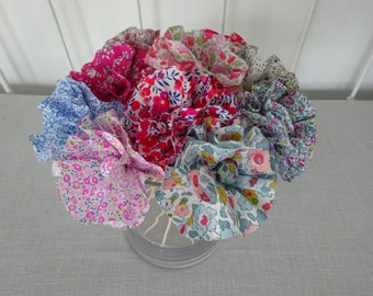 liberty fabric flowers (x 10), bouquet for the table