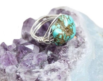 NEW! Turquoise sterling silver statement ring, boho, elegant, hippie, rocker, gypsy, handmade, wirewrapped, big ring - Free shipping!