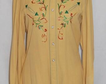 Vintage western wear 40s 50s California Ranchwear western shirt Embroidered Cowboy shirt Rodeo ratpack Rockabilly ranchwear