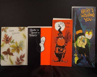 Hallmark Gibson Halloween Vintage 4 Greeting Cards with Envelopes Unused Whimsical Witches Hiding Ghost Autumn Leaves No Writing