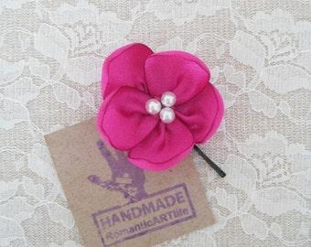 Pink Flower Hair Pin. Flower Hair Piece. Bridesmaid Flower Hair Piece.