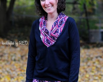 City Chic Top: Women's Cowl Neck Top Sewing Pattern