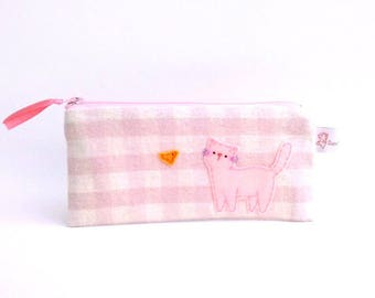 pink gingham, pencil case cat, pink pencil case, cute cat case, school supplies, school purse, zipper pouch, pencil pouch, gift for teens