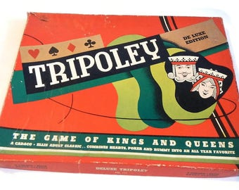 Vintage Tripoley Deluxe Edition Game - Cadaco-Ellis, No. 111, 1957 - card game, Michigan Rummy, hearts, poker, chips, game night, party fun