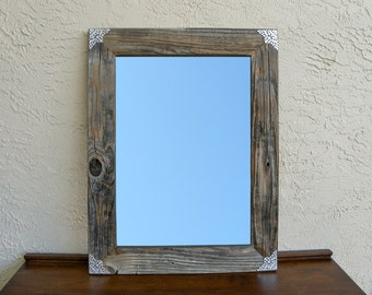 Reclaimed Wood Mirror with Silver Filigree Corners. Rustic Mirror. Large Wall Mirror. Farmhouse Mirror. Bathroom Mirror.