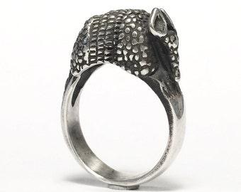 Armadillo Ring - Animal Jewelry - Sterling Silver - Handmade - Vintage