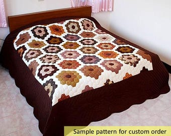 Grandmother's flower Garden, Hexagon quilts, English Patchwork, Handmade Quilt, Amish Quilts, King Size, Quilt on sale, Personalized Quilts