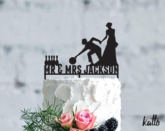 Bowling wedding cake topper- Customizable Wedding Cake Topper- Personalized bowling cake topper- bowling Wedding Cake topper