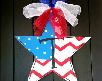 Patriotic Wreath | 4th of July Wreath | Fourth of July Door Hanger | 4th of July Decor | 4th of July Door Hanger | 4th of July Party