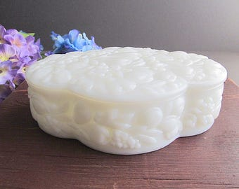 Vintage Milk Glass Covered Dish, Dresser Dish, Trinket Dish, Jewelry Dish