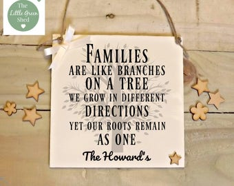 Family Like Branches On A Tree Plaque Sign Housewarming Gift Personalised Keepsake 20x20cm
