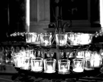 Basilica Candles digital art; candle light art; black and white art; gallery wall art; shelf decor; church art; religious art; wall art